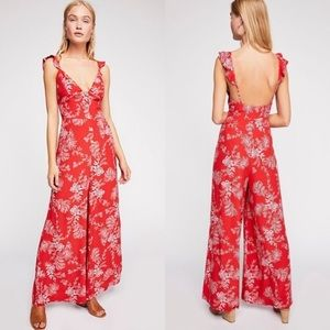 free people be the one jumpsuit in red + white